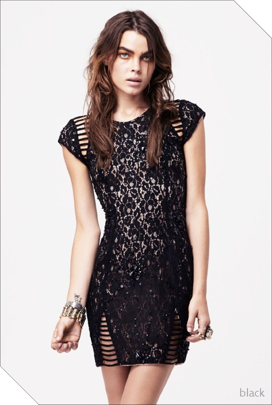 embellished lace insert dress