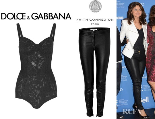 Selena-Gomez-Dolce-Gabbana-Lace-Bodysuit-And-Faith-Connexion-Leather-Pants