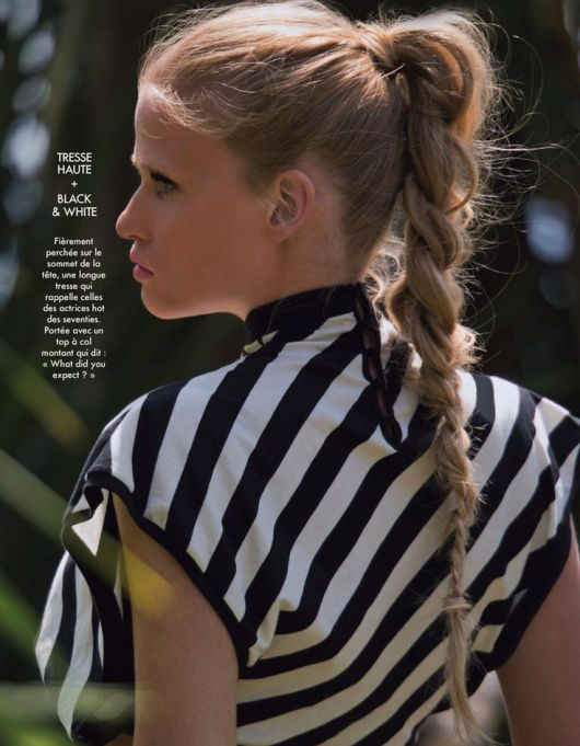 lara stone - hair - stripe - sporty - black & white - keenan evans