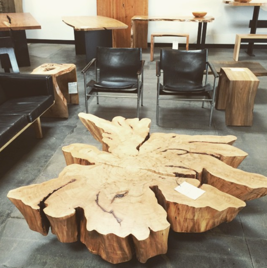 keenan evans - interior home inspiration - wood table - slice of tree