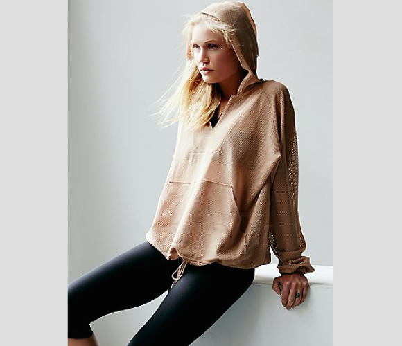 billowing mesh hoodie - free people movement - dance editorial - blush